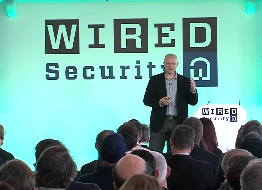 alex on stage at wired