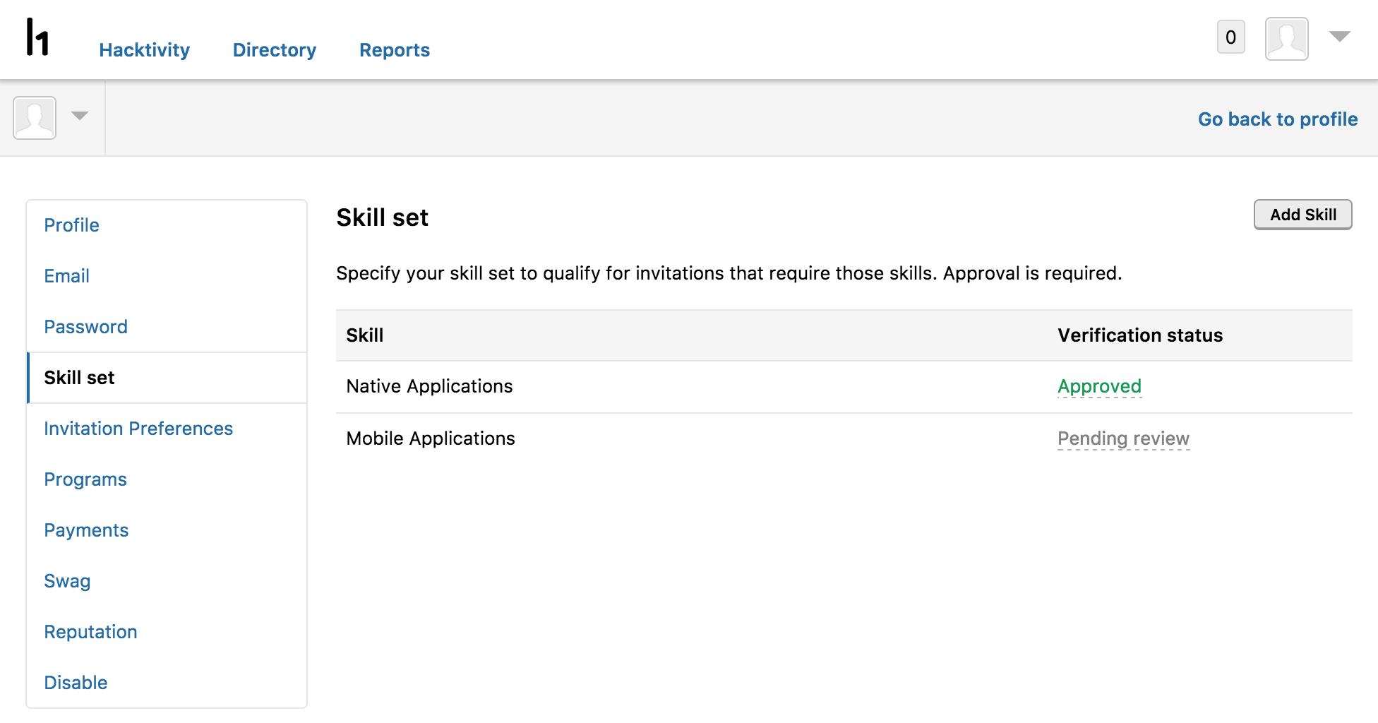 Submit relevant reports on the profile settings page