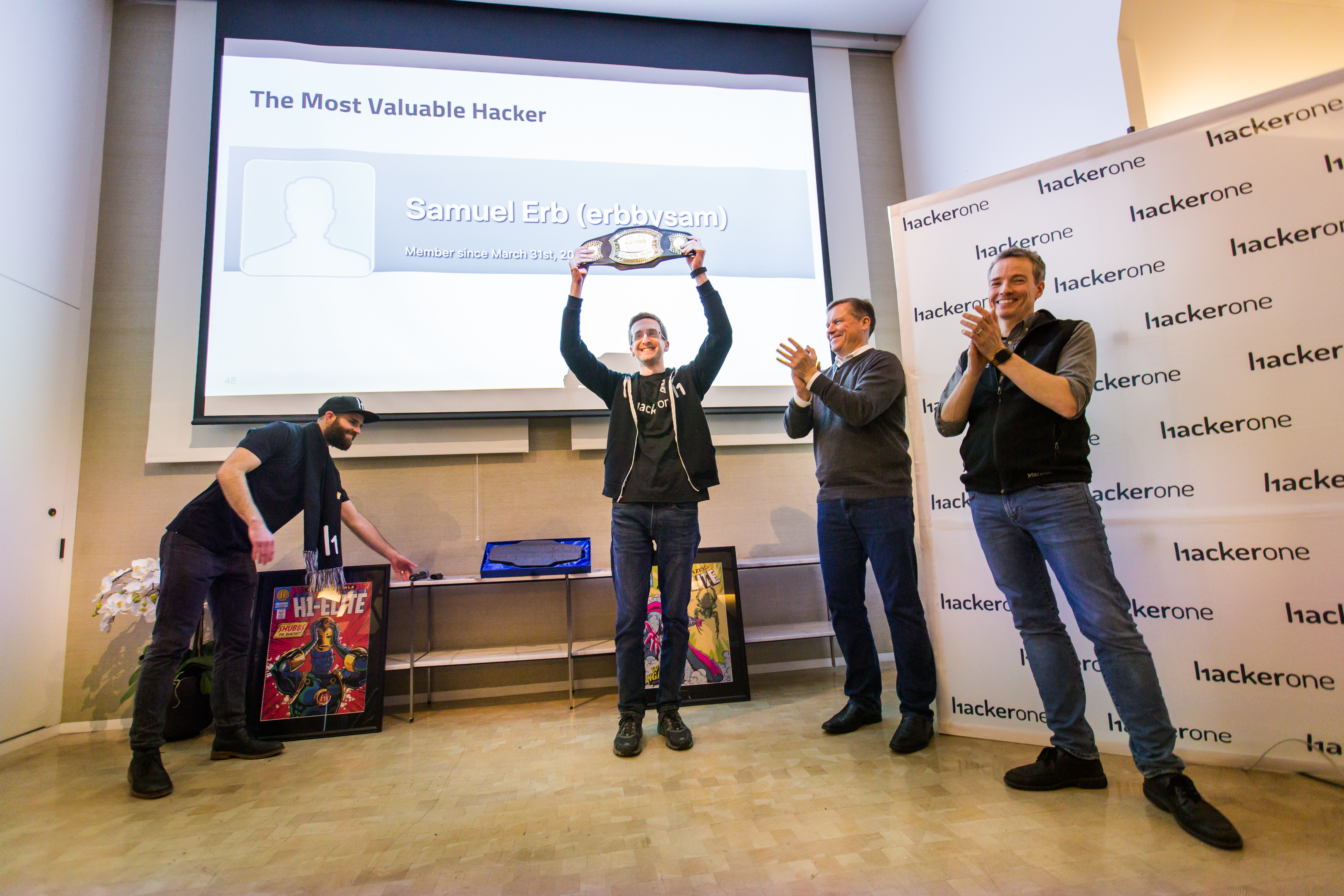 @errbysam shows his pride in holding the Most Valuable Hacker belt