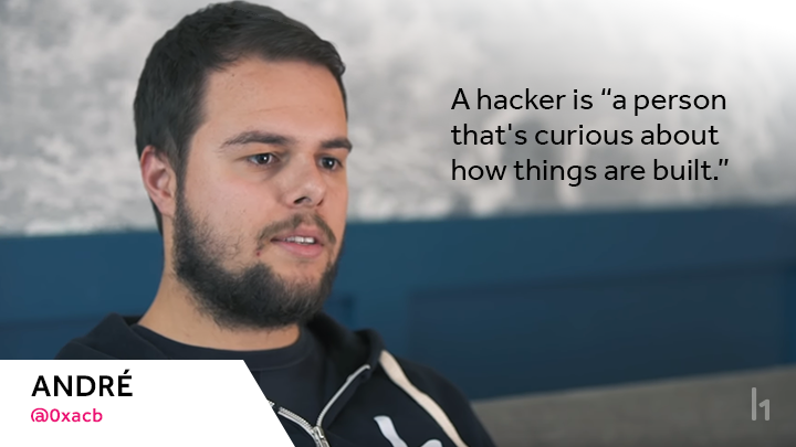 "@0xacb says a hacker is ""a person that's curious about how things are built."""