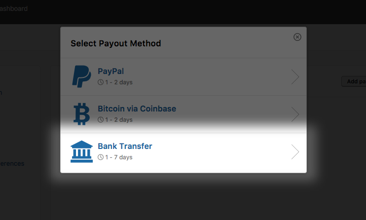 New payout method: Bank Transfer